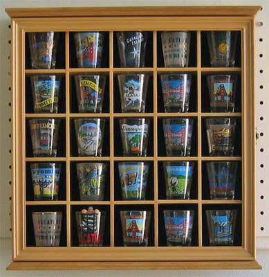Shot Glass Display Cabinet Case With Glass Door