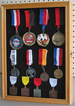 Badge, Pin, Medal & Brooch Display Case, Black Background