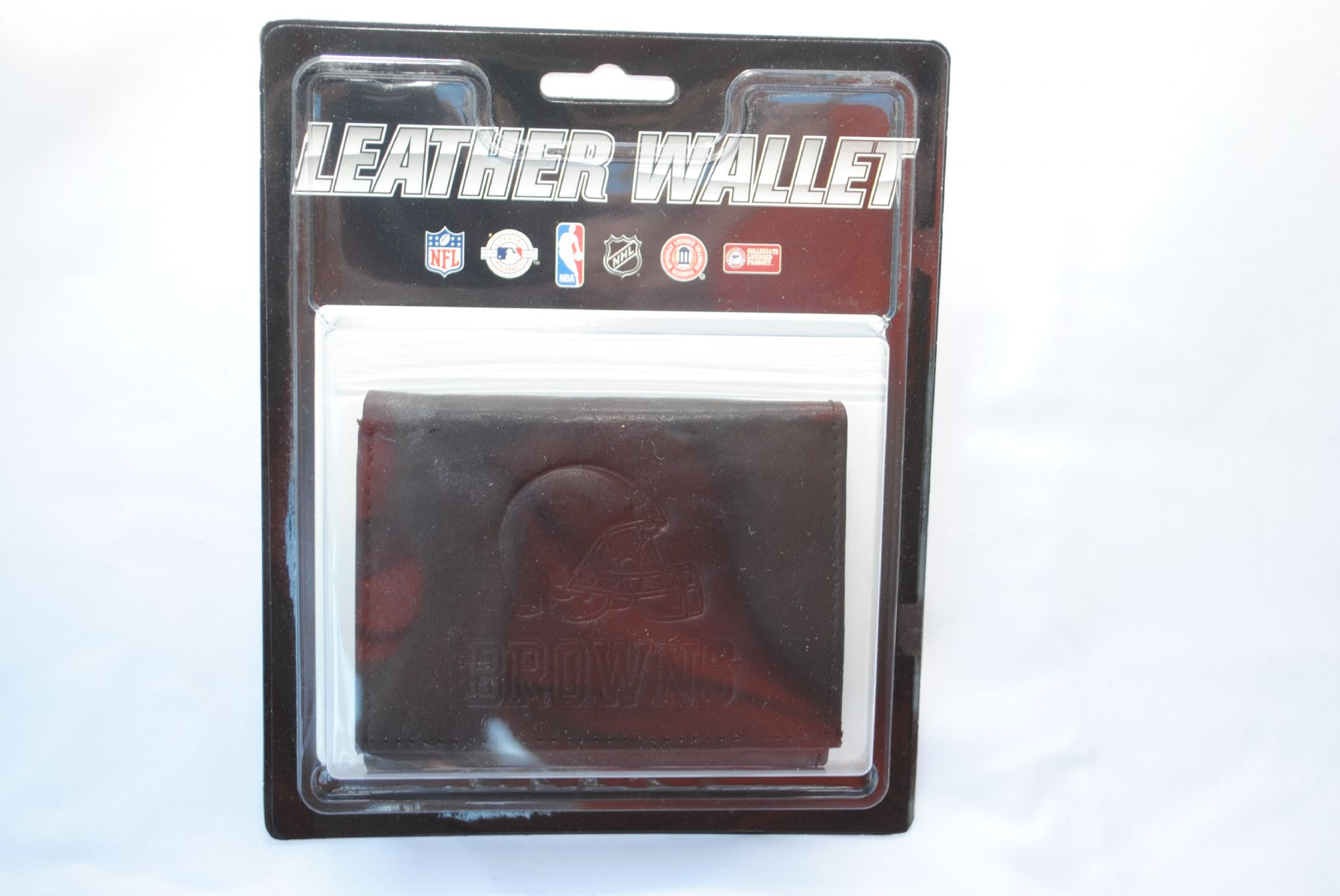 Discount Cleveland Browns Black Leather Tri fold Wallet  for cheap