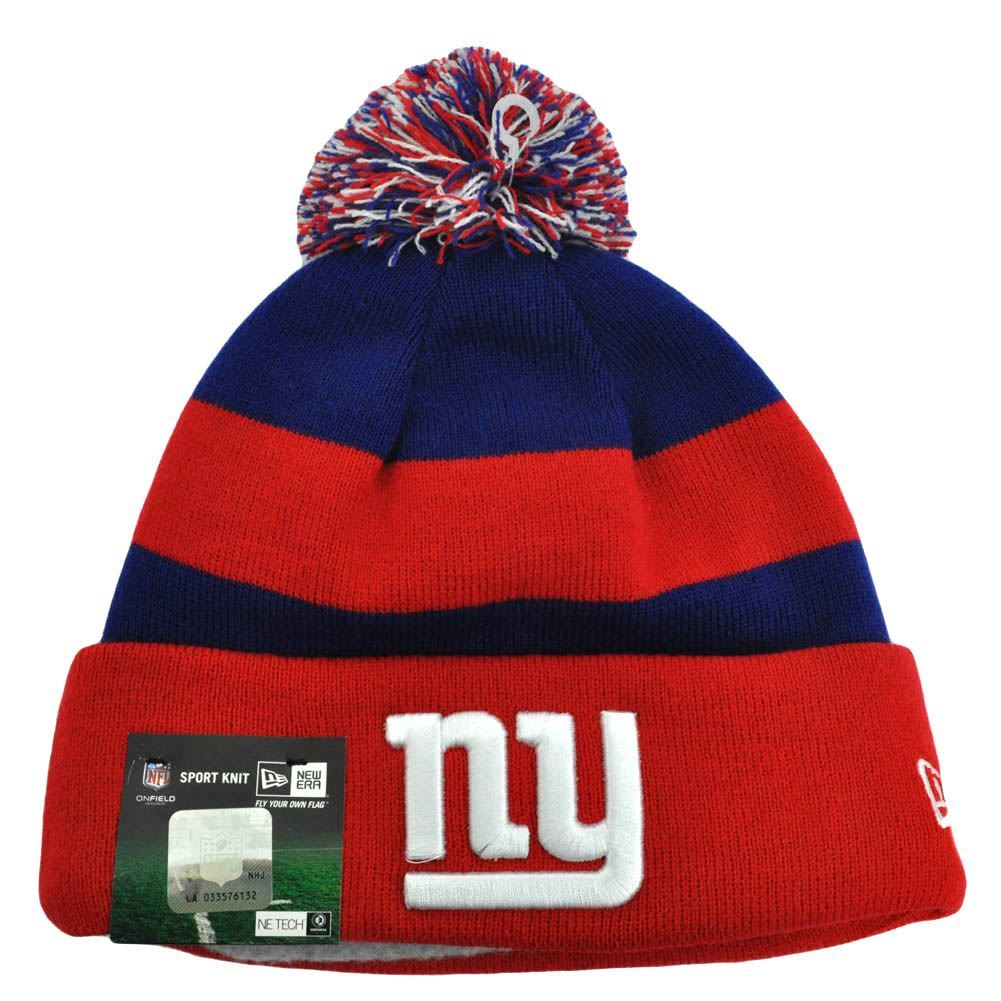 16d20af8788 New York Giants New Era Cuffed Beanie Pom-Pom Hat Red White   Blue